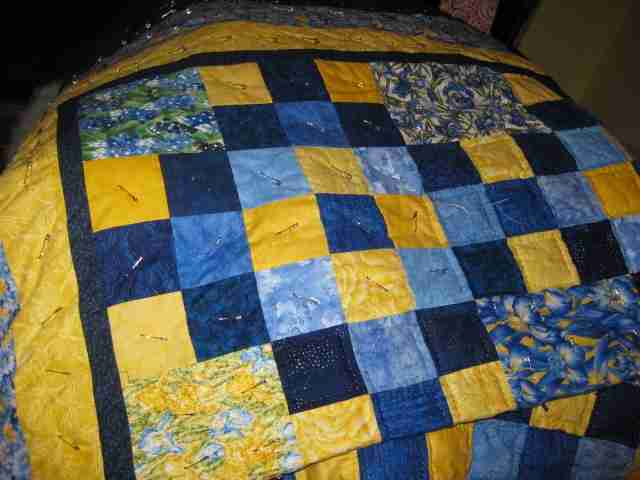 Blue and Yellow Handmade Quilt