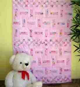 princess pink handmade baby quilt