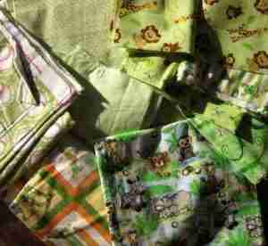 Baby quilts green fabrics