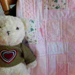 pink zoo animals handmade baby quilt for girls