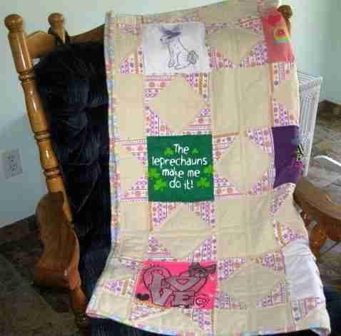 T-Shirt Stars Handmade Baby Quilt