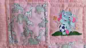 Elephants in Pink and Grey - Handmade Baby Quilt for Girls