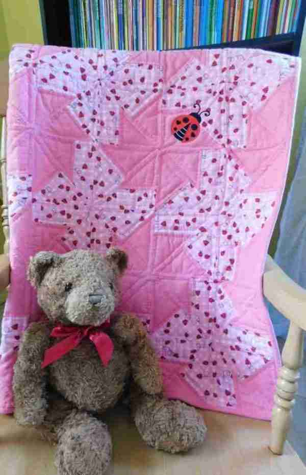 Lady Bugs handmade baby quilt for girls