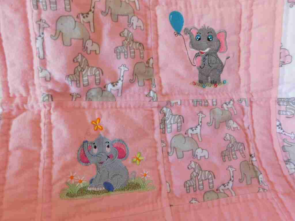 Elephants In Pink and Gray Detail