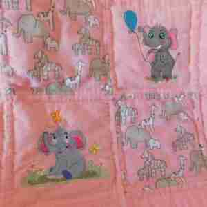 Elephants in Pink and Grey