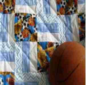 Personalized Play Ball Baby Quilt