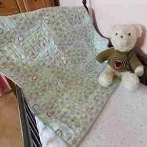 Teal and Grey Handmade Baby Quilt
