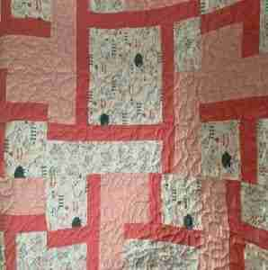Peachy Little Lamb Handmade Baby Quilt