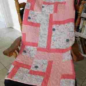 Peachy Little Lamb Handmade Baby Quilt