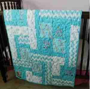 Elephants in Aqua and Gray Baby Quilt