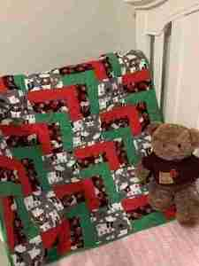 handmade baby quilts Christmas Bear