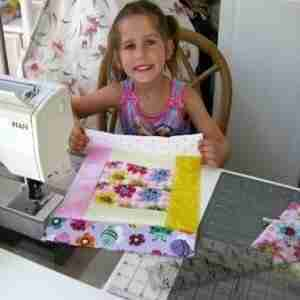 Abby Learning to Quilt