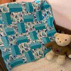 Sail Boats on Aqua Seas Handmade Baby Quilt