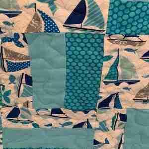 Sail Boats on Aqua Seas Handmade Baby Quilt
