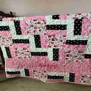 Handmade Baby Quilt, Personalized Lady Bugs, pink and brown quilt