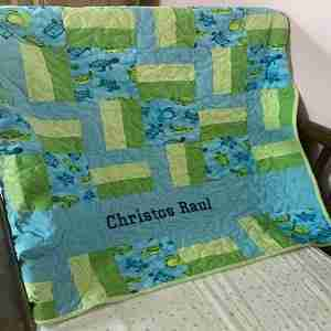 Handmade Baby Quilt, Personalized Save The Turtles, blue and green quilt