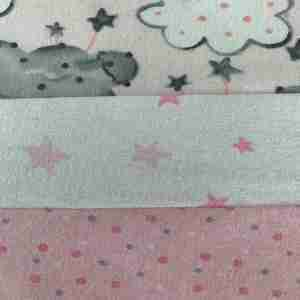 Personalized Pink & Grey Clouds Handmade Baby Quilt
