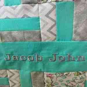 Handmade Personalized Teal Elephants Baby Quilt