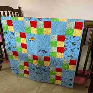 Little Boys and Their Toys Handmade Baby Quilt