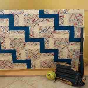 Handmade Baby Quilt, Baseball Days, red and blue baseball print quilt