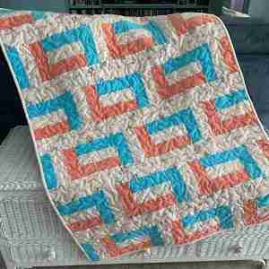 Handmade Baby Quilt, Let Your Dreams Set Sail, aqua and orange quilt
